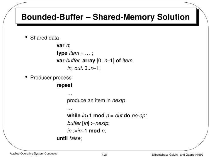 Bounded-Buffer – Shared-Memory Solution