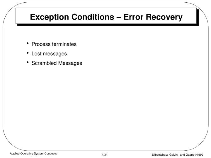 Exception Conditions – Error Recovery
