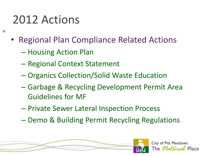 Regional Plan Compliance Related Actions