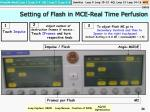 setting of flash in mce real time perfusion