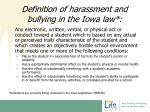 d efinition of harassment and bullying in the iowa law