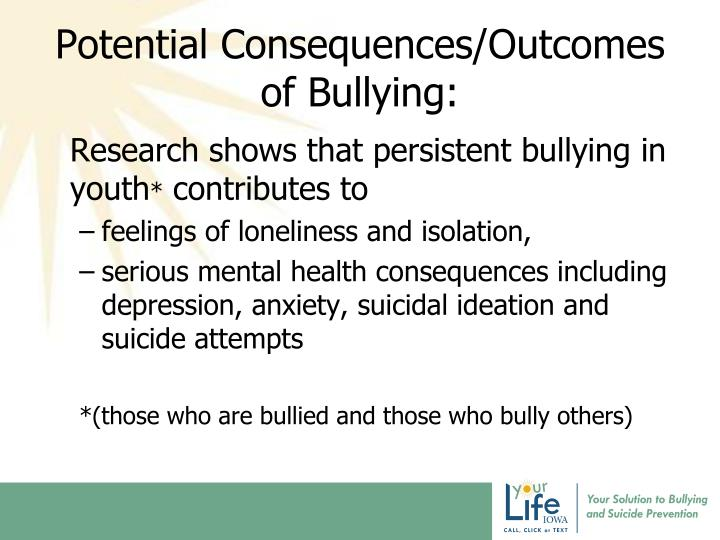Potential Consequences/Outcomes of Bullying: