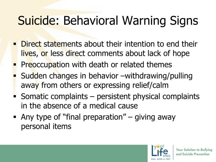 Suicide: Behavioral Warning Signs