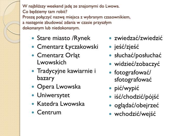 W najbliższy weekend jadę ze znajomymi do Lwowa.