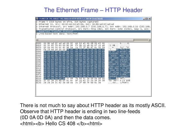 The Ethernet Frame – HTTP Header