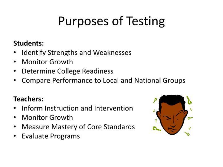 Purposes of Testing