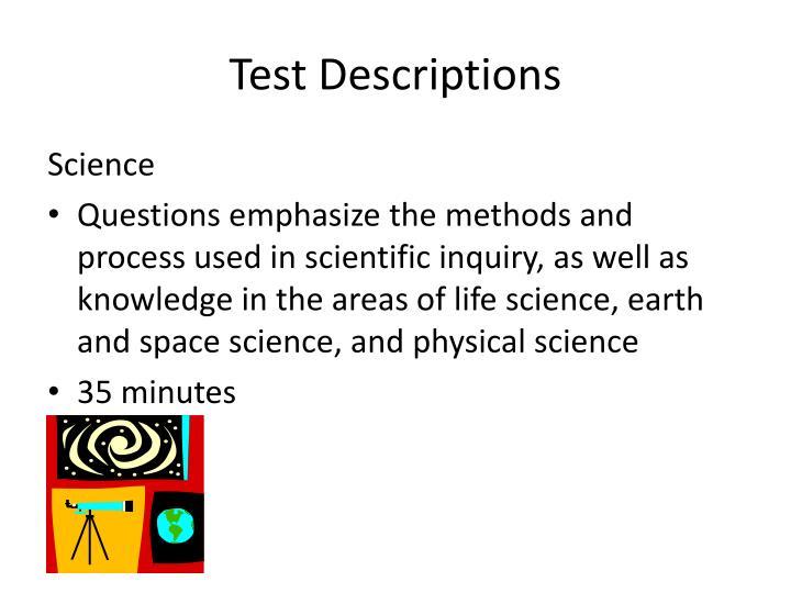 Test Descriptions