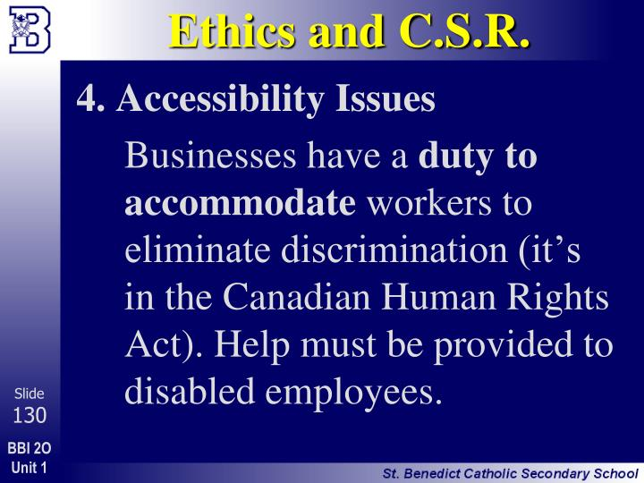 Ethics and C.S.R.