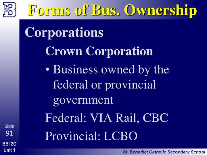 Forms of Bus. Ownership