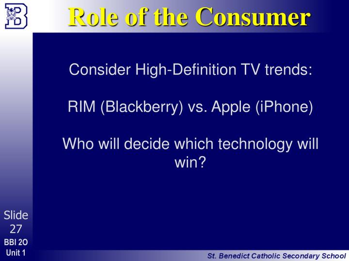 Role of the Consumer