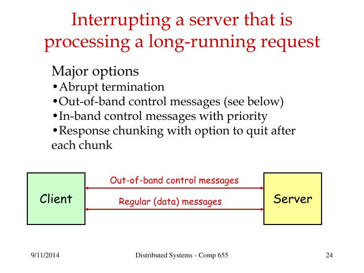 Interrupting a server that is processing a long-running request