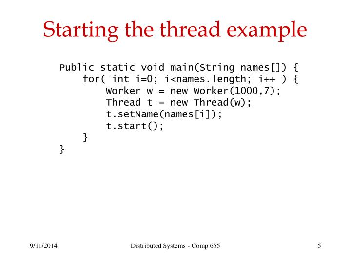 Starting the thread example