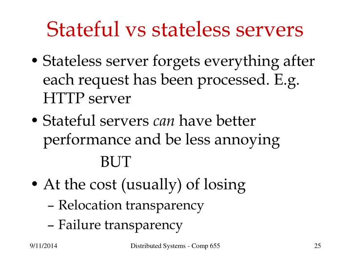 Stateful vs stateless servers