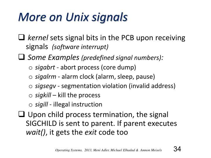 More on Unix signals
