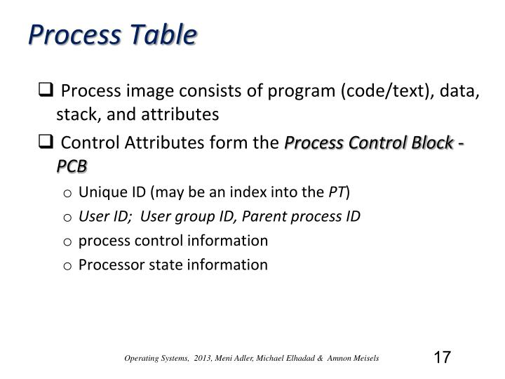 Process Table