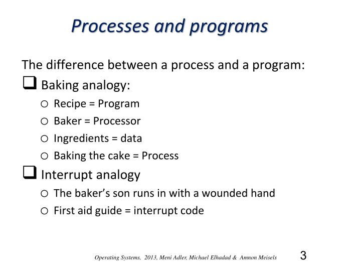 Processes and programs