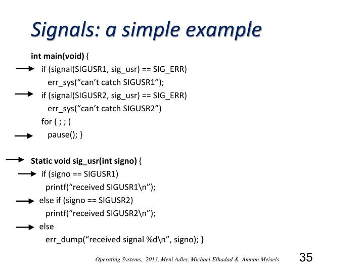 Signals: a simple example