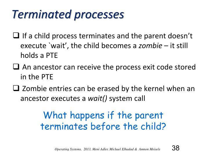 Terminated processes