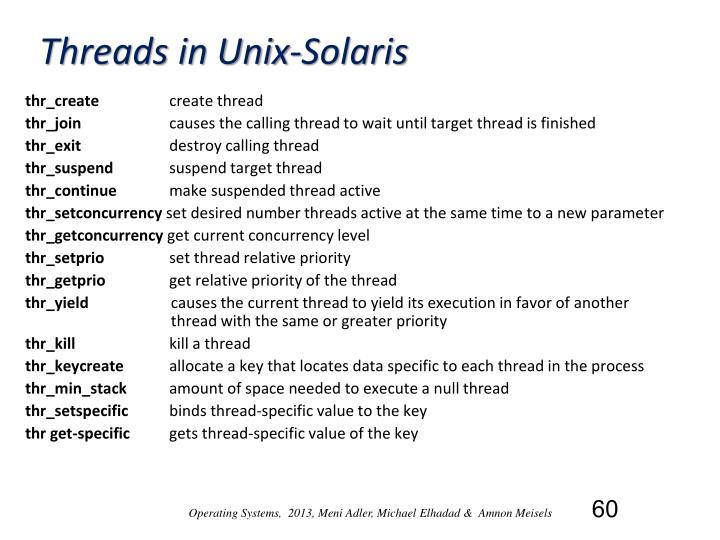 Threads in Unix-Solaris