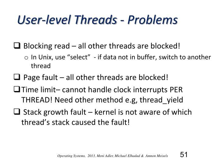 User-level Threads - Problems