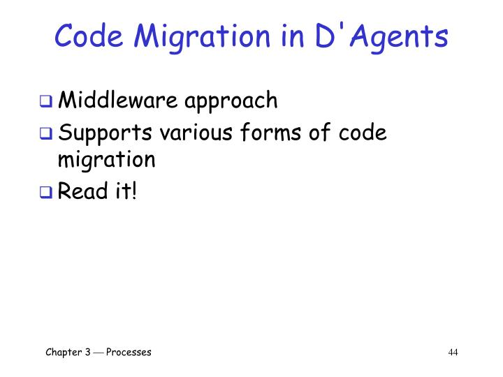 Code Migration in D'Agents