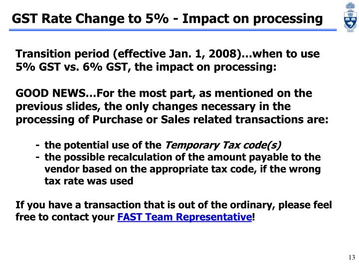 GST Rate Change to 5% - Impact on processing