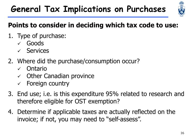 General Tax Implications on Purchases