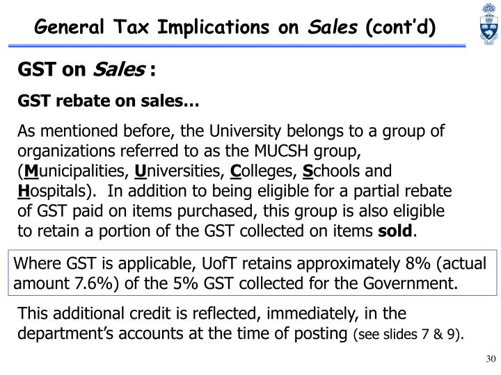 General Tax Implications on