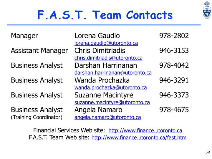 F.A.S.T. Team Contacts