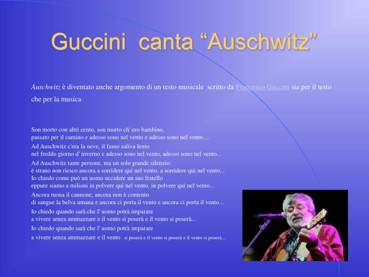 """Guccini  canta """"Auschwitz"""""""