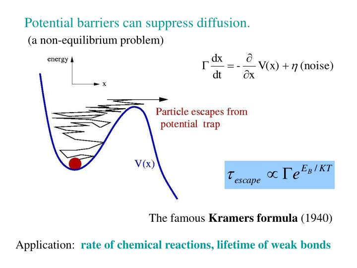Potential barriers can suppress diffusion.