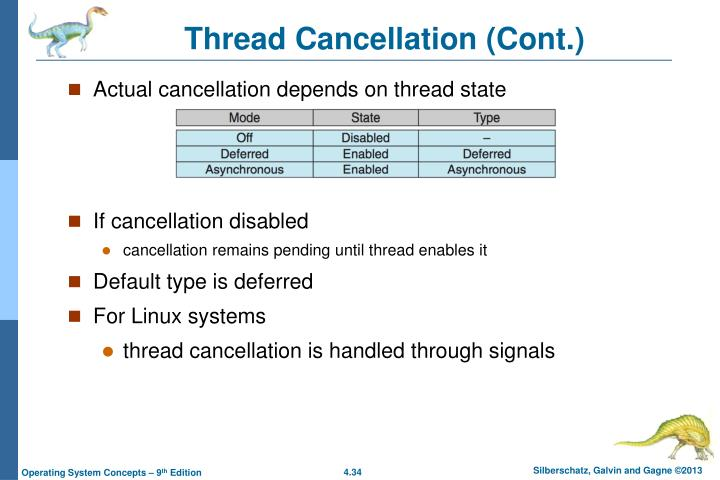 Thread Cancellation (Cont.)