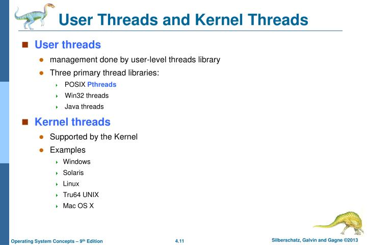 User Threads and Kernel Threads