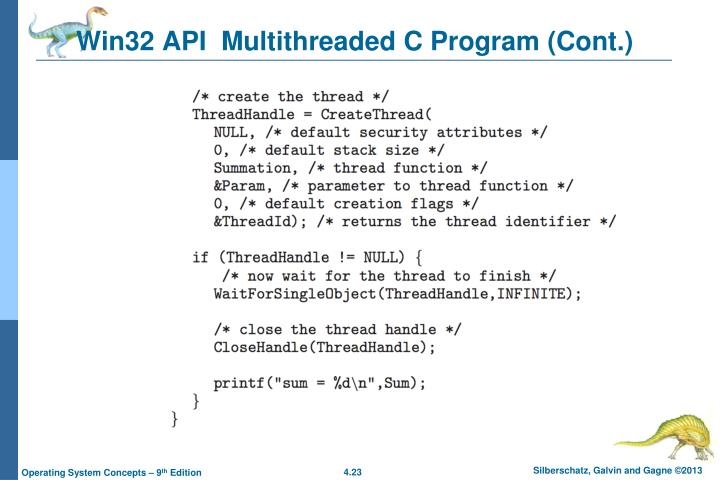 Win32 API  Multithreaded C Program (Cont.)