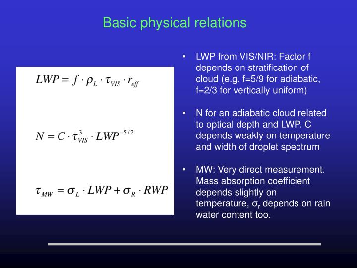 LWP from VIS/NIR: Factor f depends on stratification of cloud (e.g. f=5/9 for adiabatic, f=2/3 for vertically uniform)