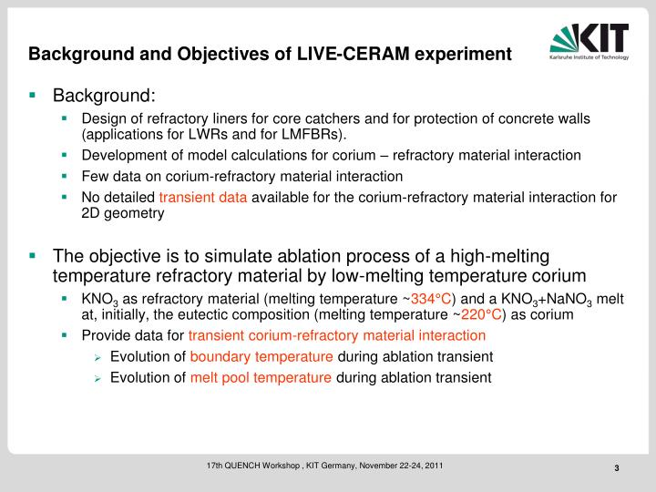 Background and Objectives of LIVE-CERAM experiment