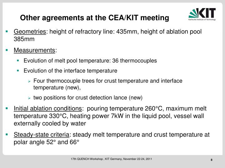 Other agreements at the CEA/KIT meeting