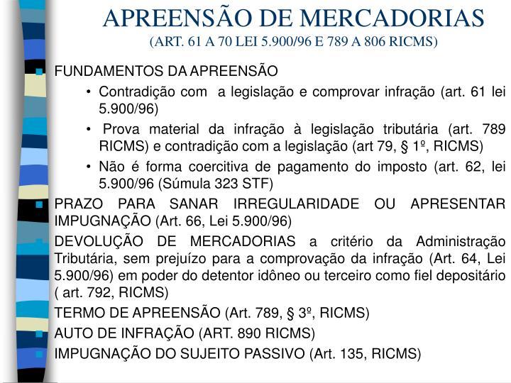 APREENSÃO DE MERCADORIAS