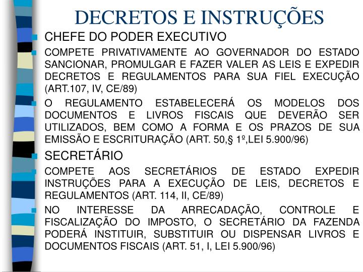 DECRETOS E INSTRUÇÕES