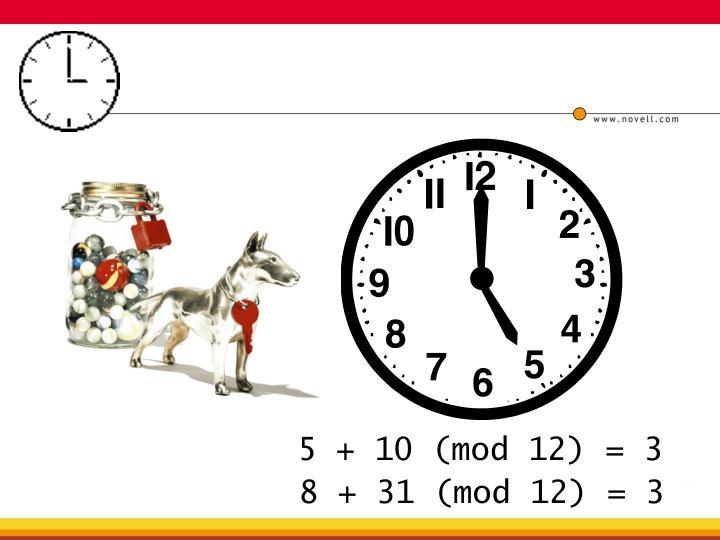 5 + 10 (mod 12) = 3