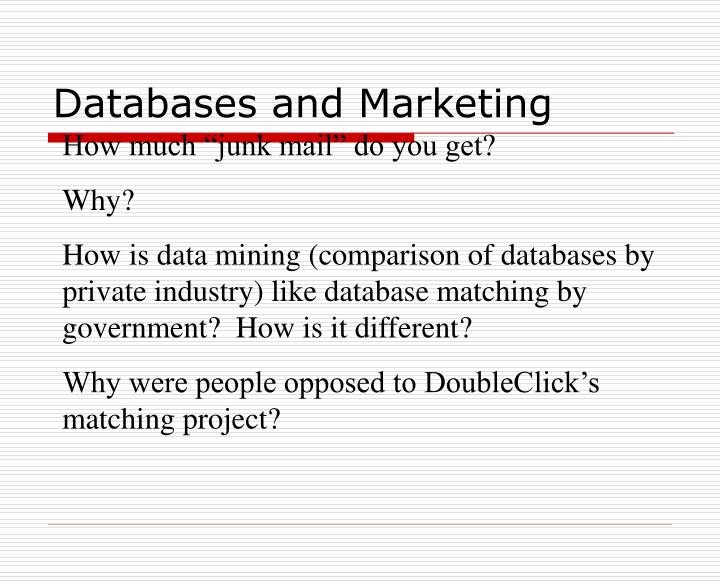 Databases and Marketing