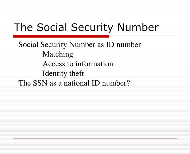 The Social Security Number