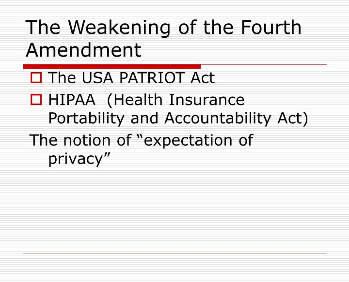 The Weakening of the Fourth Amendment
