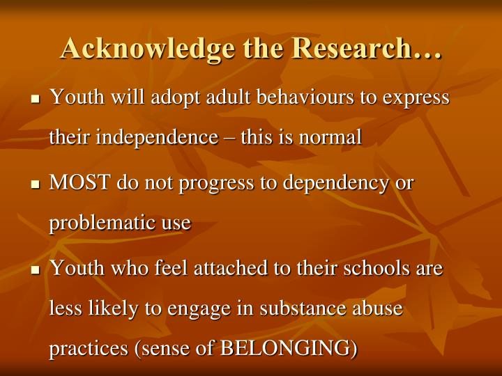 Acknowledge the Research…