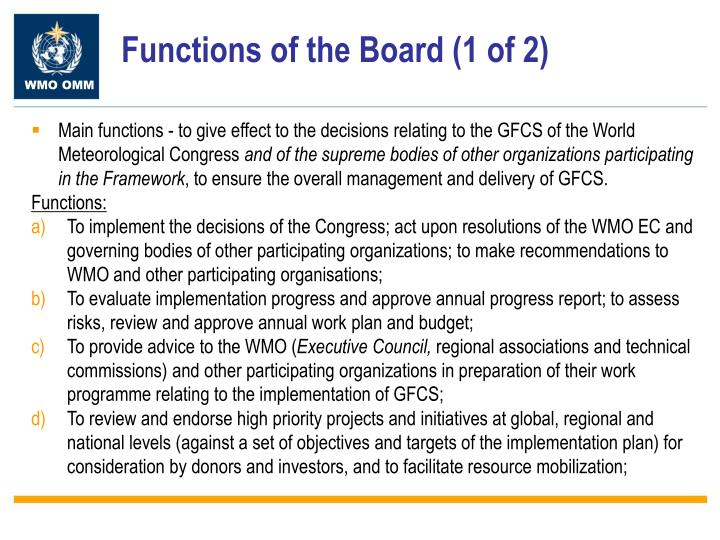 Functions of the Board (1 of 2)