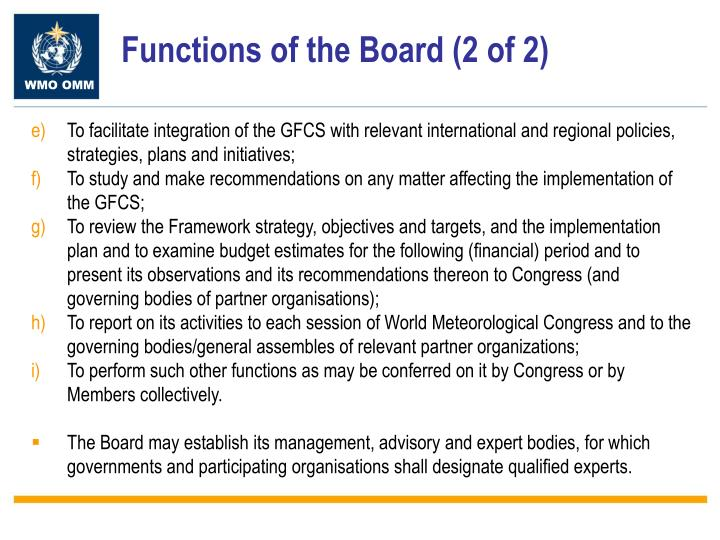 Functions of the Board (2 of 2)