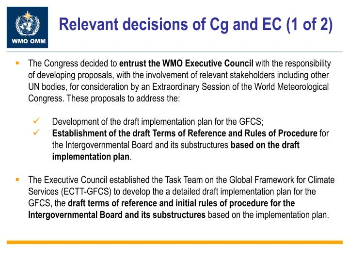 Relevant decisions of Cg and EC (1 of 2)