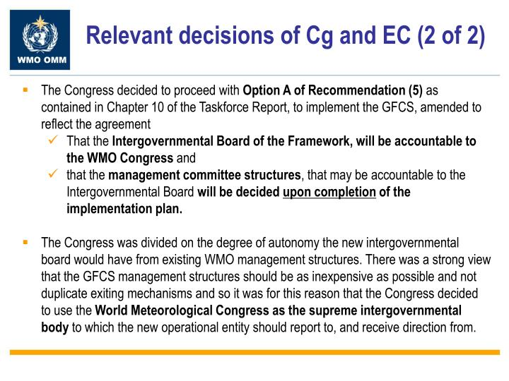 Relevant decisions of Cg and EC (2 of 2)