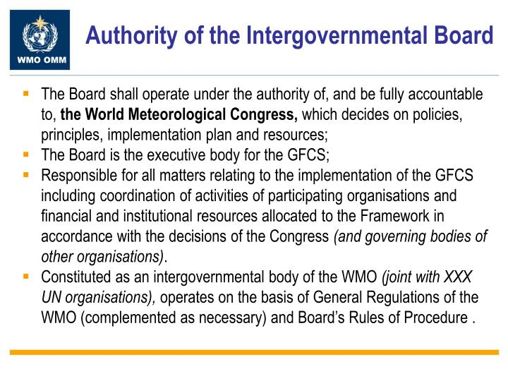 Authority of the Intergovernmental Board