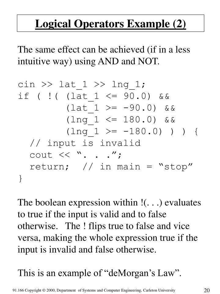 Logical Operators Example (2)